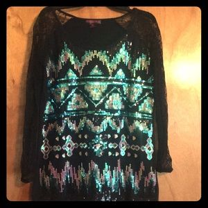 Rock&Roll Cowgirl size xl sequin top lace sleeves